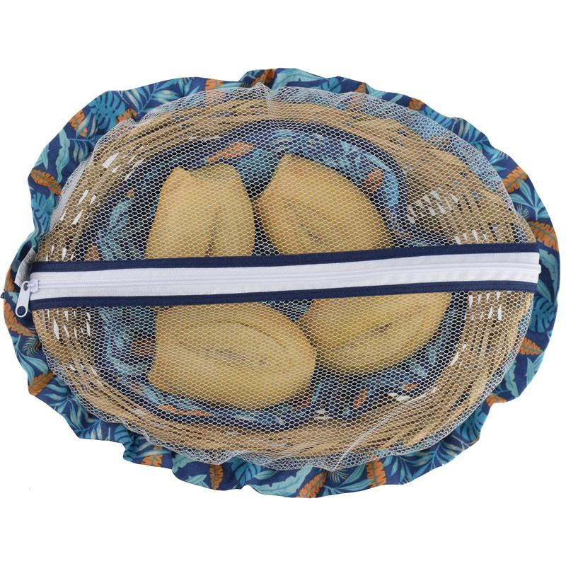 Cesta De Pão De Bambu Azul Tropical  - RECANTO DA COSTURA