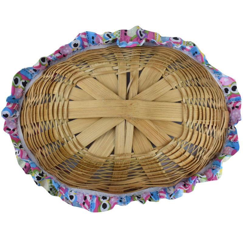 Cesta De Pão De Bambu Rosa Coruja  - RECANTO DA COSTURA