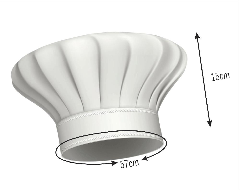Chapéu De Cozinheiro Mestre Cuca Oxford Branco  - RECANTO DA COSTURA