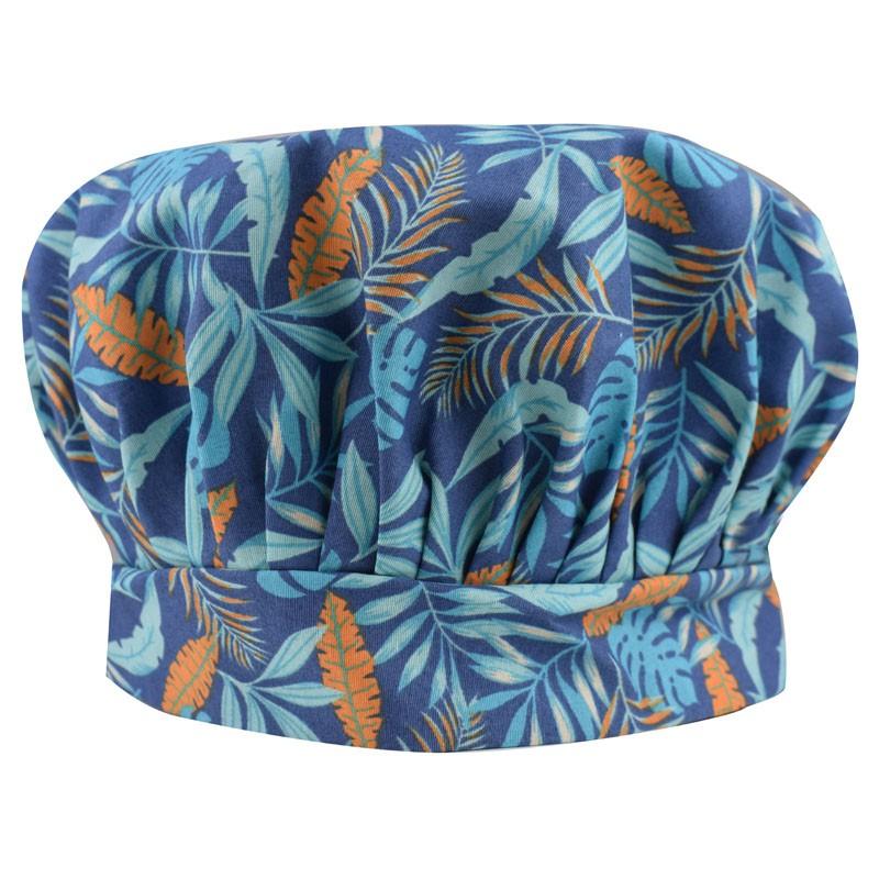 Chapéu Touca de Cozinheiro Azul Tropical  - RECANTO DA COSTURA