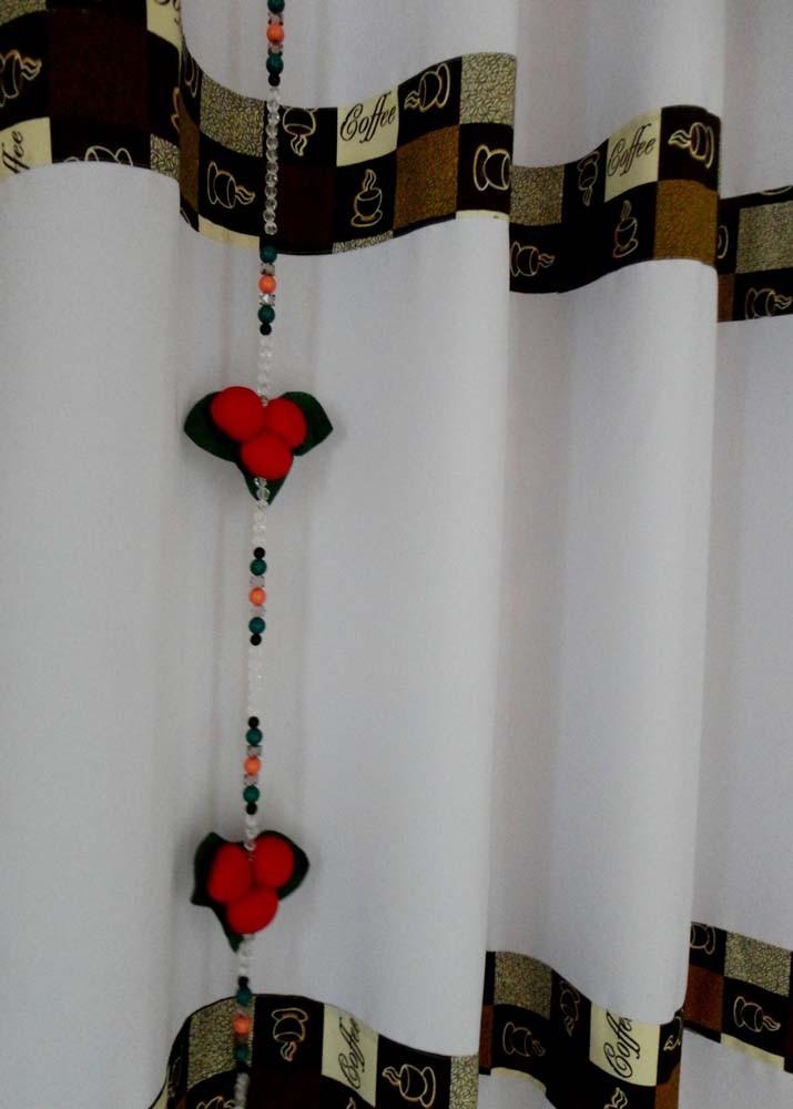 Cortina De Cozinha Com Barrado Estampado { 2m X 1,20m Café } Com Abraçadeira  - RECANTO DA COSTURA