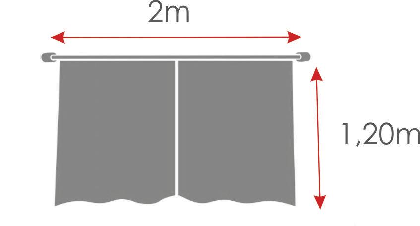 Cortina De Cozinha Com Barrado Estampado { 2m X 1,20m Poá } Com Abraçadeira  - RECANTO DA COSTURA
