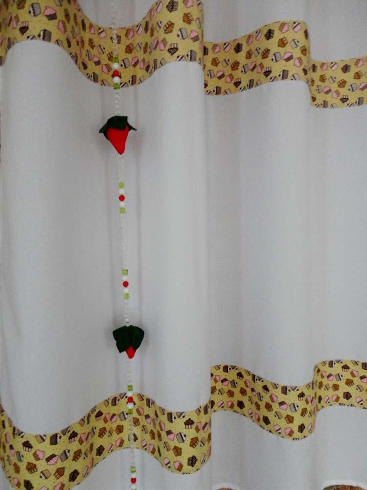Cortina De Cozinha Com Barrado Estampado { 2m X 1,50m Cupcake } Com Abraçadeira  - RECANTO DA COSTURA