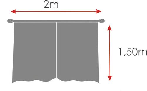 Cortina De Cozinha Com Barrado Estampado { 2m X 1,50m Poá } Com Abraçadeira  - RECANTO DA COSTURA