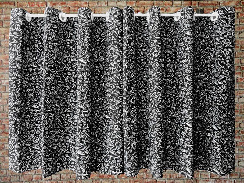 Cortina De Cozinha Estampada { 2m X 1,20m Preto E Branco } Com Abraçadeira  - RECANTO DA COSTURA