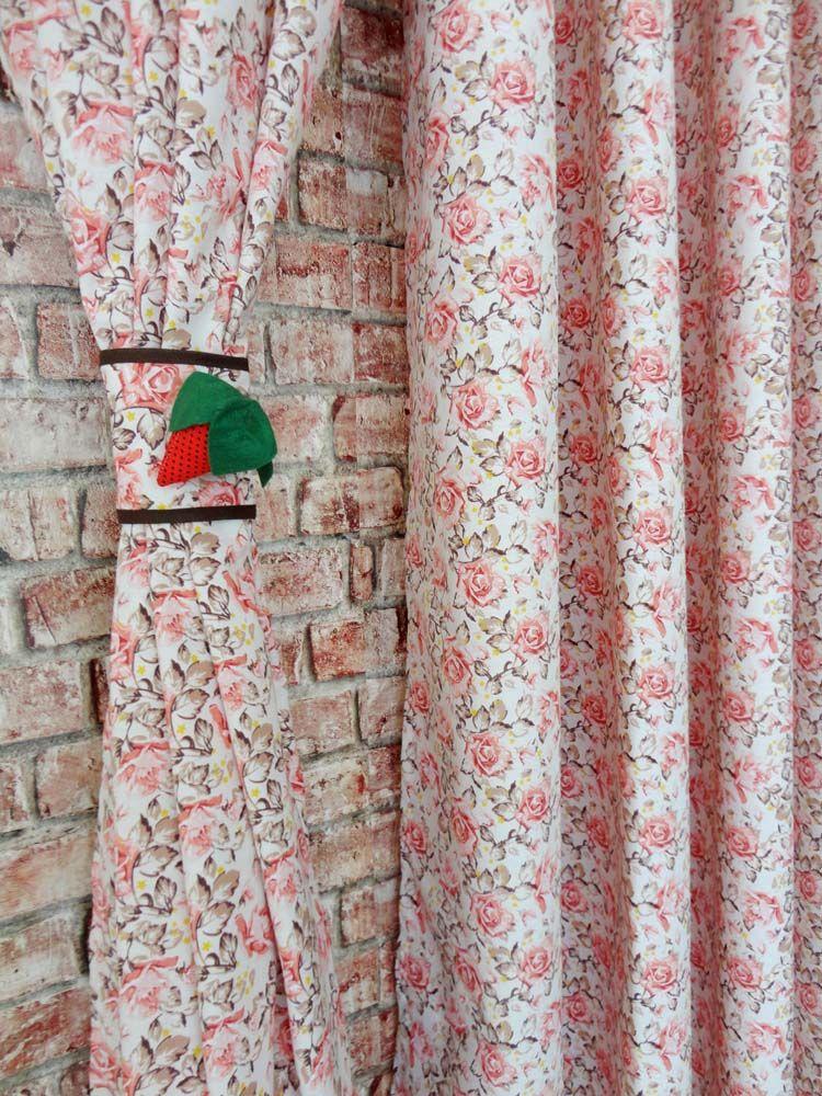 Cortina De Cozinha Estampada { 2m X 1,50m Floral} Com Abraçadeira  - RECANTO DA COSTURA