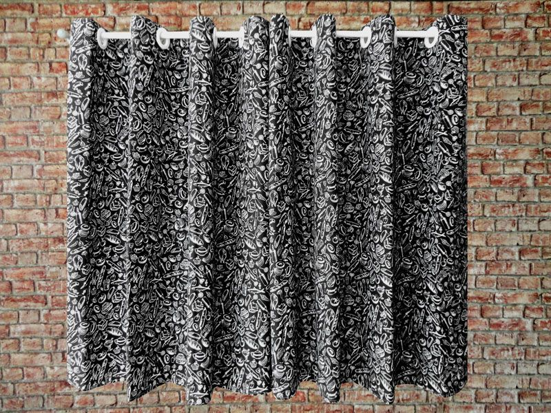 Cortina De Cozinha Estampada { 2m X 1,50m Preto E Branco } Com Abraçadeira  - RECANTO DA COSTURA