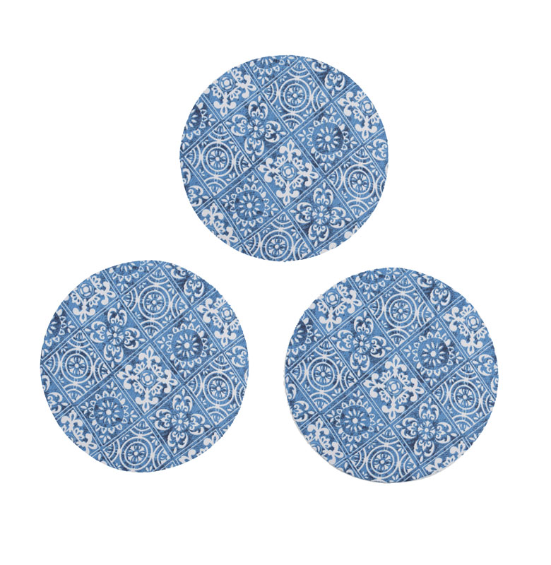 Descanso De Panela 3 Unidades Azulejo  - RECANTO DA COSTURA