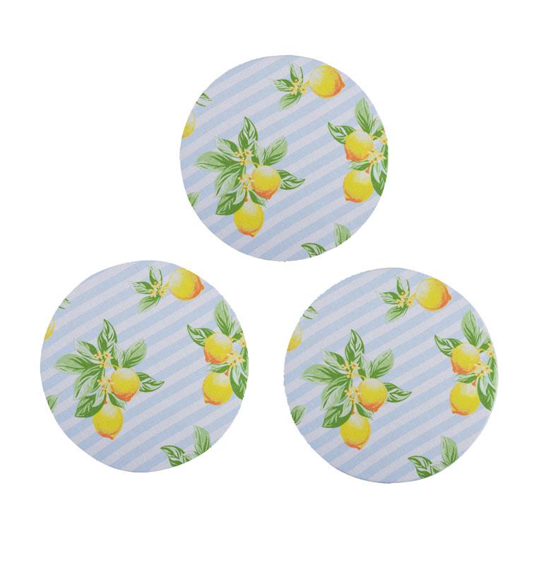 Descanso De Panela 3 Unidades Limão  - RECANTO DA COSTURA