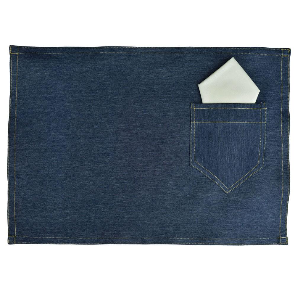 Jogo Americano Jeans com Bolsinho Porta Talher e Guardanapo 2 Lugares  - RECANTO DA COSTURA