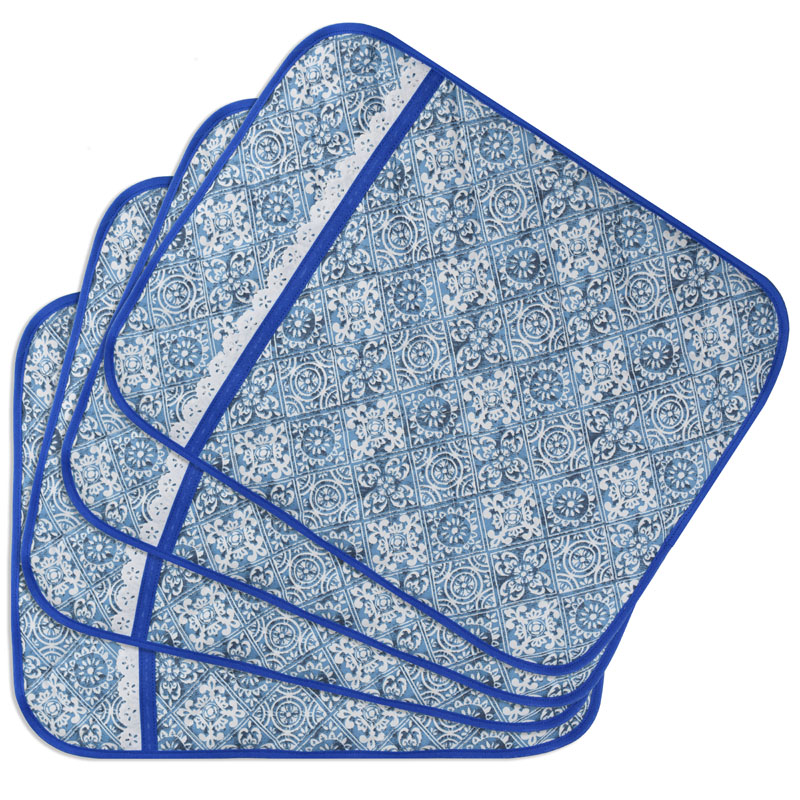 Jogo Americano Matelado E Porta Talheres Azul Azulejo  - RECANTO DA COSTURA