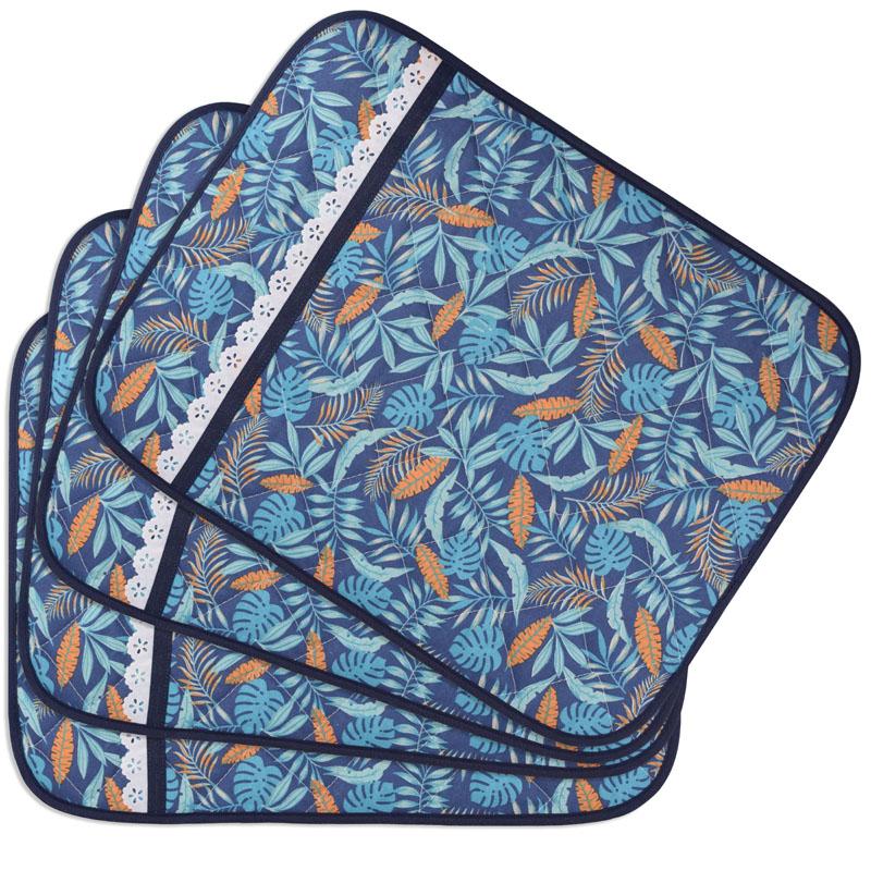 Jogo Americano Matelado E Porta Talheres Azul Tropical Blue  - RECANTO DA COSTURA