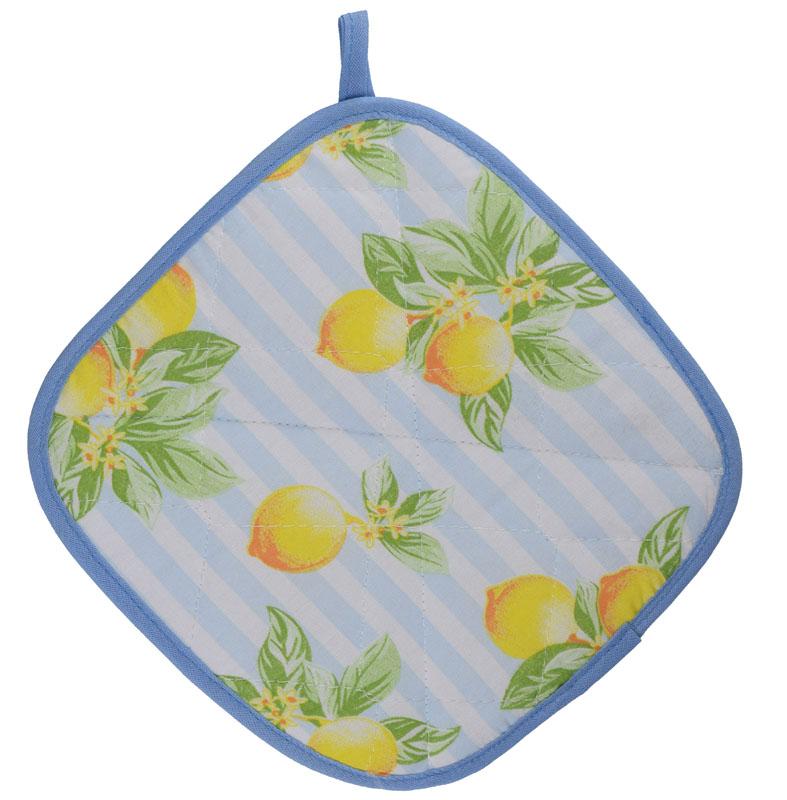 Luva De Cozinha Térmica E Pegador De Panela Azul Limão  - RECANTO DA COSTURA