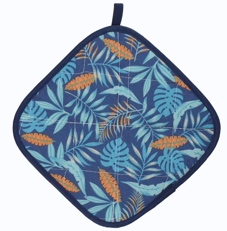 Luva De Cozinha Térmica E Pegador De Panela Azul Tropical  - RECANTO DA COSTURA