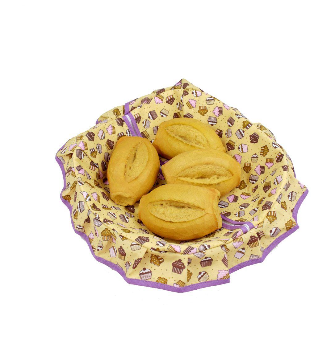 Porta Pão Com Zíper Cupcake  - RECANTO DA COSTURA