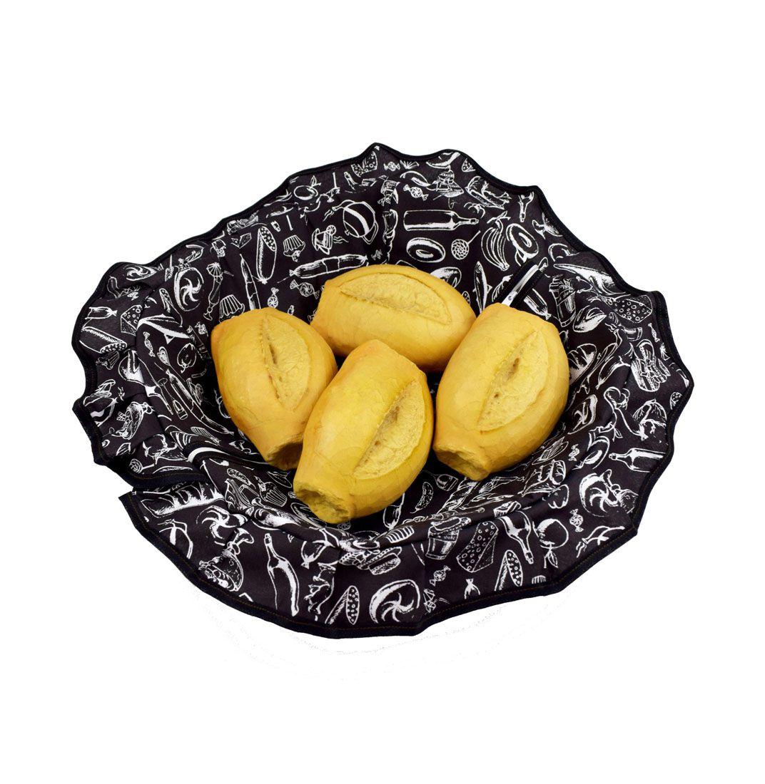 Porta Pão Com Zíper Preto E Branco  - RECANTO DA COSTURA