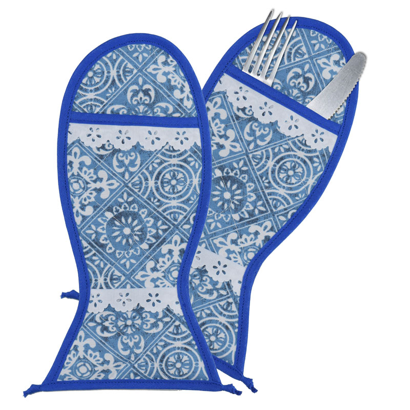Porta Talher 4 Unidades Azul Azulejo  - RECANTO DA COSTURA