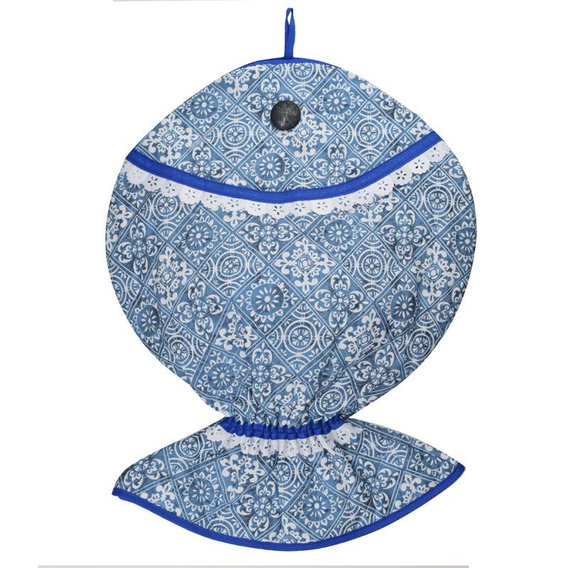 Puxa Saco Estampado Peixe® Azul Azulejo  - RECANTO DA COSTURA