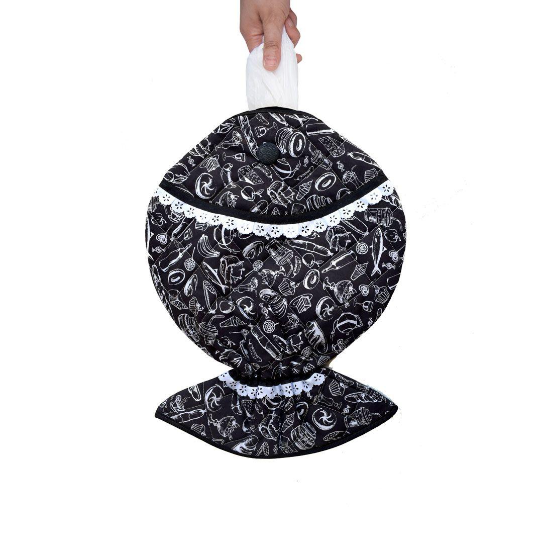 Puxa Saco Estampado Peixe® Preto E Branco  - RECANTO DA COSTURA