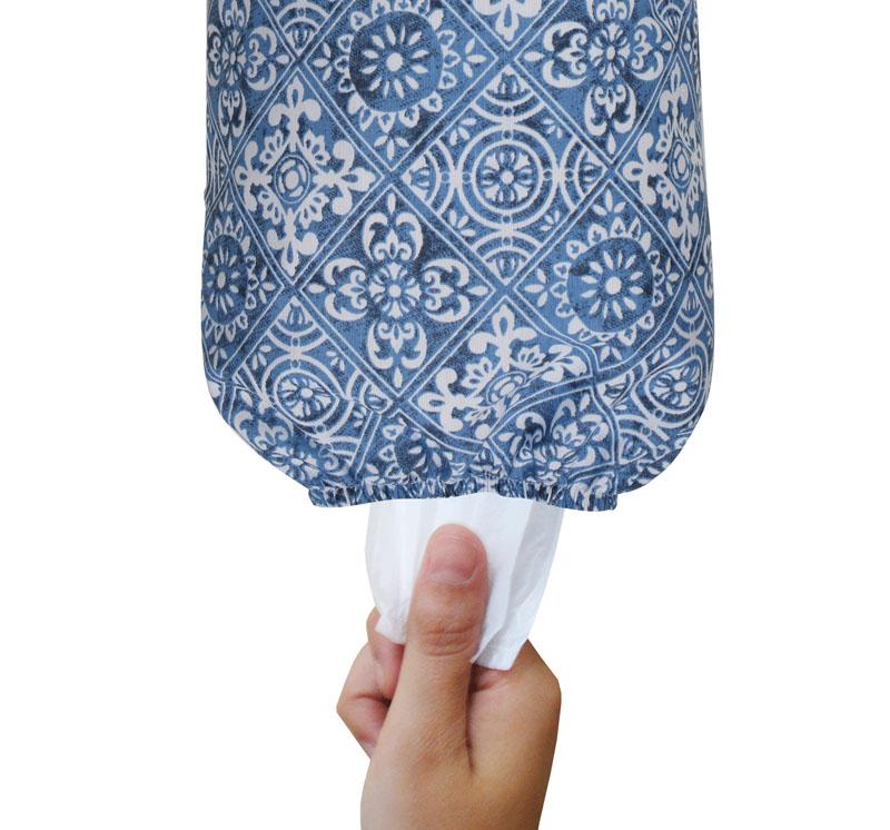 Puxa Saco Simples Marrom Azul Azulejo   - RECANTO DA COSTURA