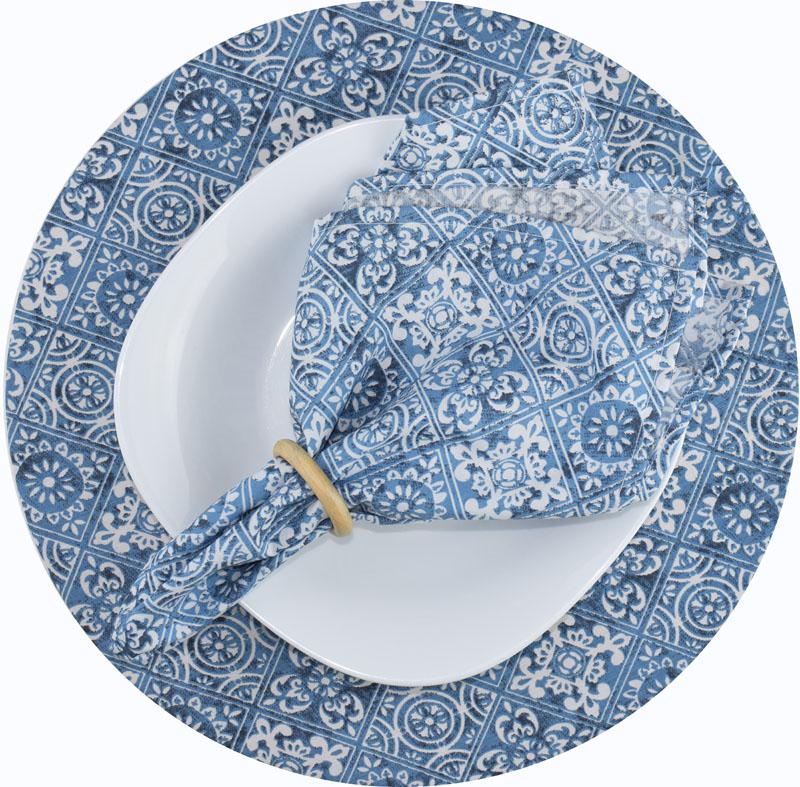 Sousplat E Guardanapo De Boca Azul Azulejo  - RECANTO DA COSTURA