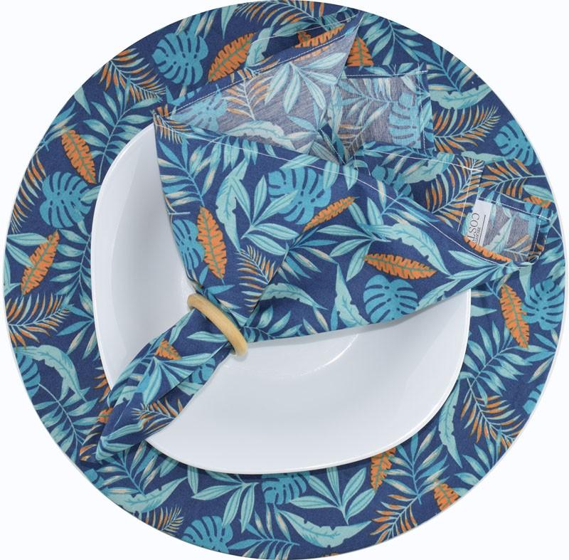 Sousplat E Guardanapo De Boca Azul tropical   - RECANTO DA COSTURA