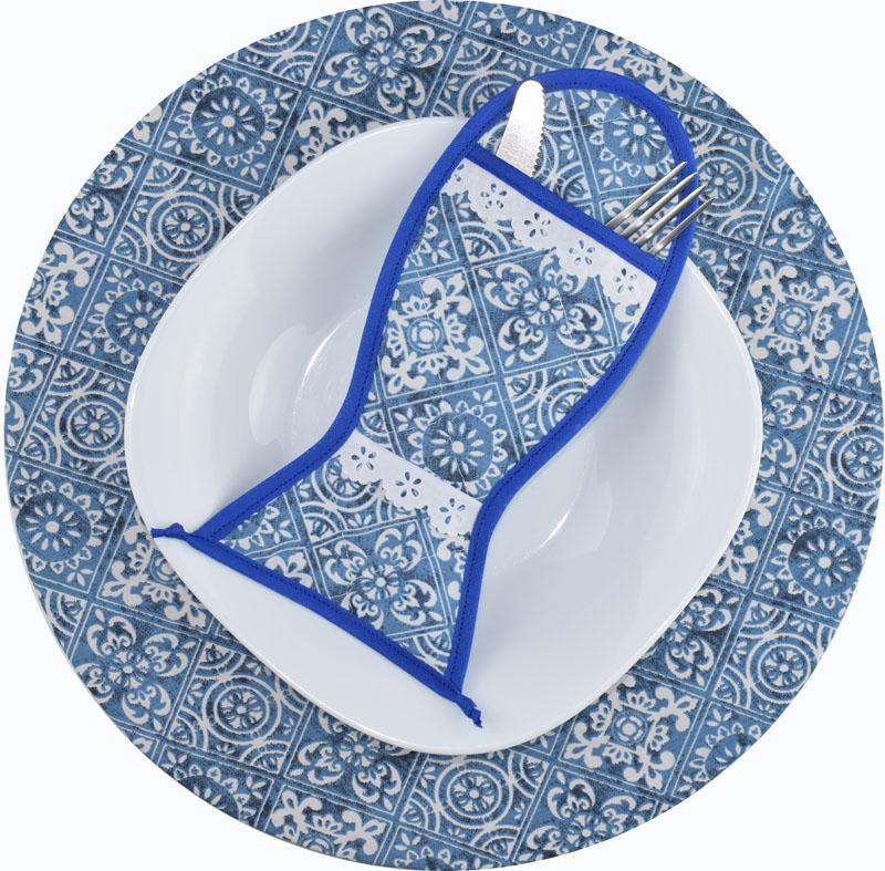 Sousplat E Porta Talheres Azul Azulejo  - RECANTO DA COSTURA