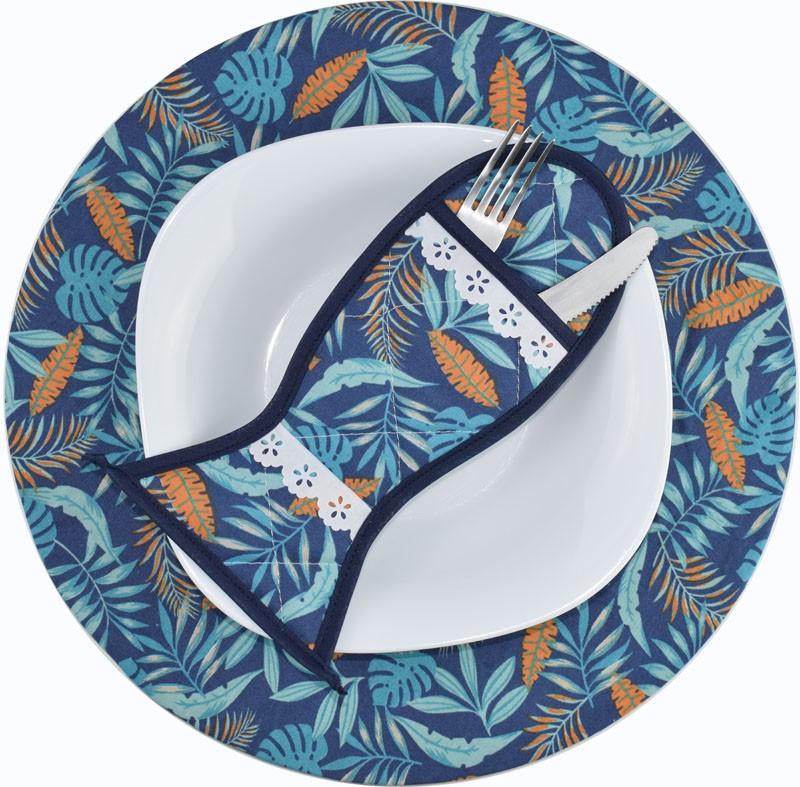 Sousplat E Porta Talheres Azul tropical  - RECANTO DA COSTURA