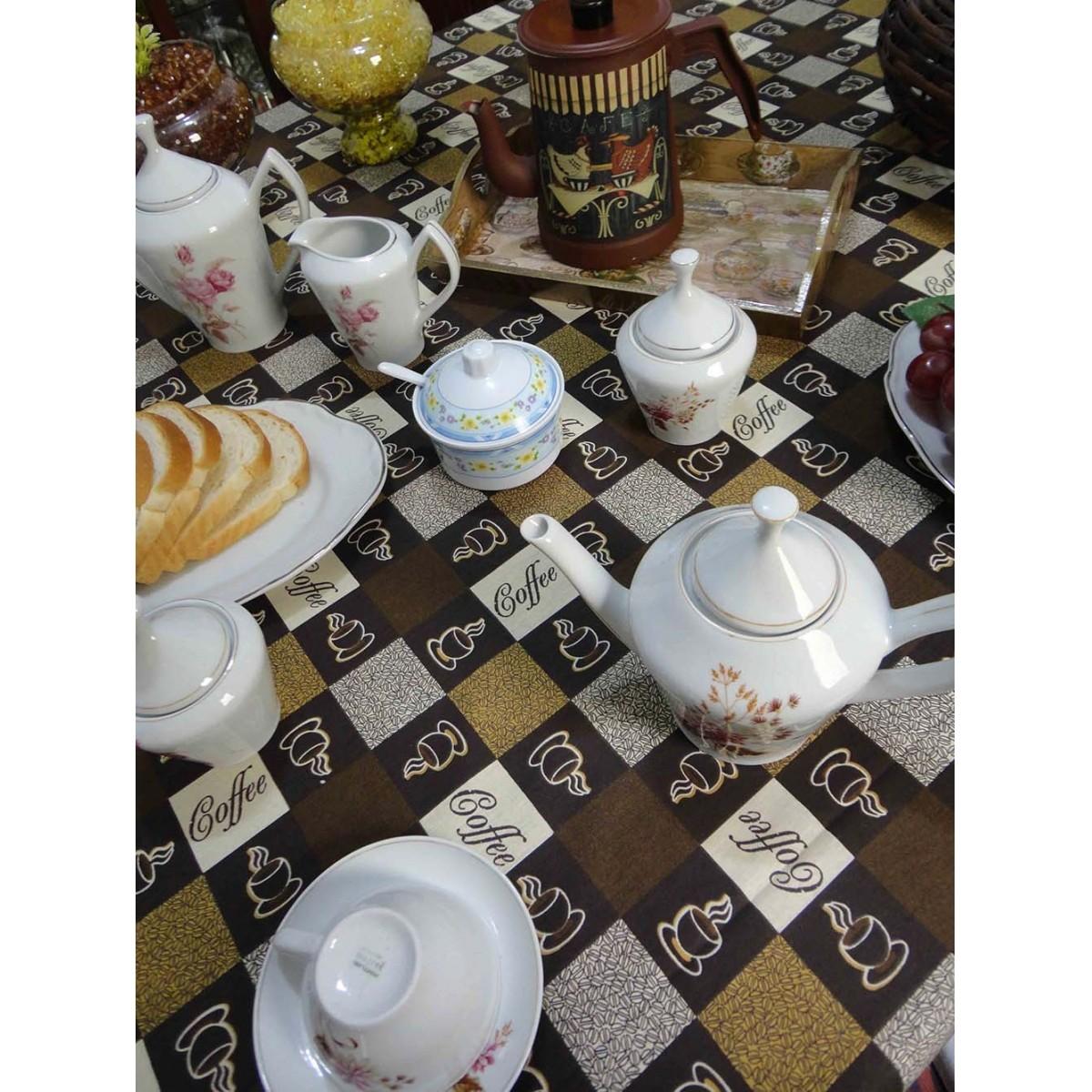 Toalha De Mesa Quadrada Café 1,50m X 1,50m  - RECANTO DA COSTURA
