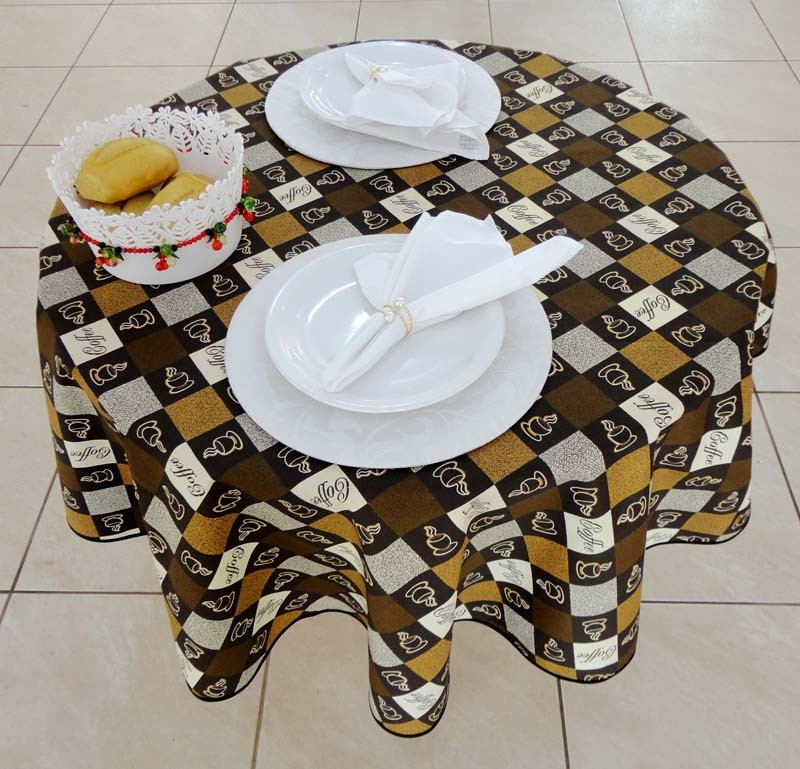 Toalha Para Mesa Redonda Café 4 Cadeiras 1,50m De Diâmetro  - RECANTO DA COSTURA