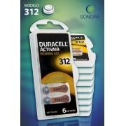 Duracell ActivAir 312 / PR41  - 10 Cartelas - 60 Baterias para Aparelho Auditivo