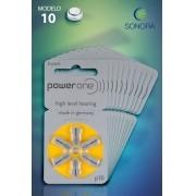 PowerOne P10 / PR70  - 10 Cartelas - 60 Baterias para Aparelho Auditivo
