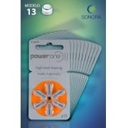 PowerOne P13 / PR48  - 10 Cartelas - 60 Baterias para Aparelho Auditivo