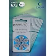 PowerOne P675 / PR44  - 10 Cartelas - 60 Baterias para Aparelho Auditivo