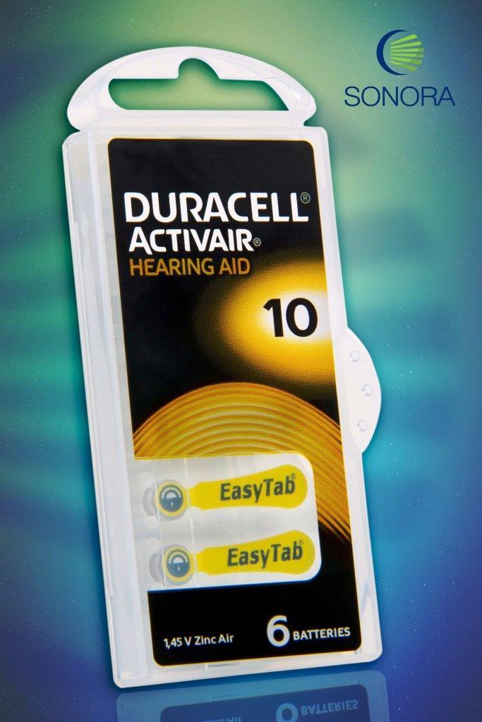 Duracell ActivAir 10 / PR70  - 10 Cartelas - 60 Baterias para Aparelho Auditivo  - SONORA