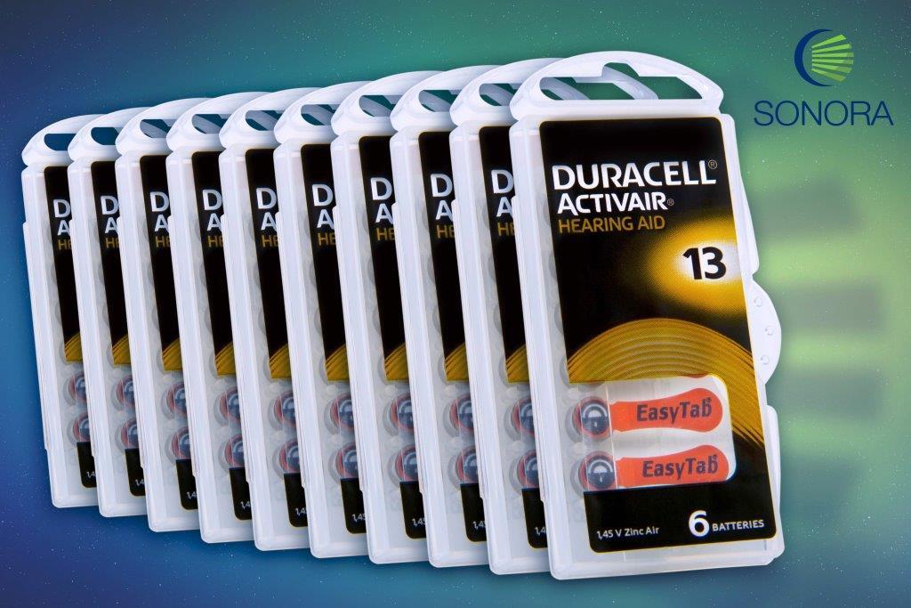 Duracell ActivAir 13 / PR48  - 10 Cartelas - 60 Baterias para Aparelho Auditivo  - SONORA