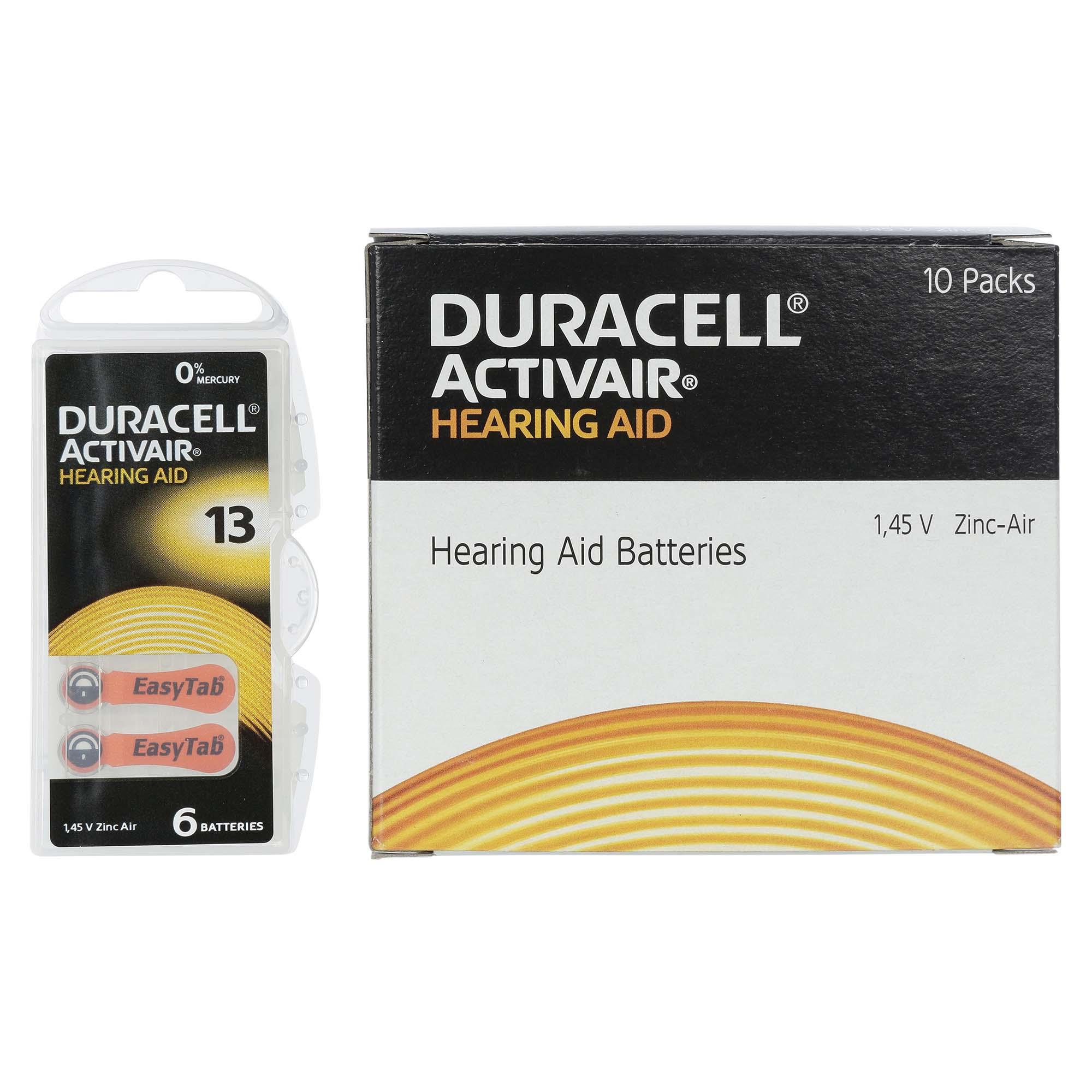 Duracell ActivAir 13 / PR48  - 10 Cartelas - 60 Baterias para Aparelho Auditivo