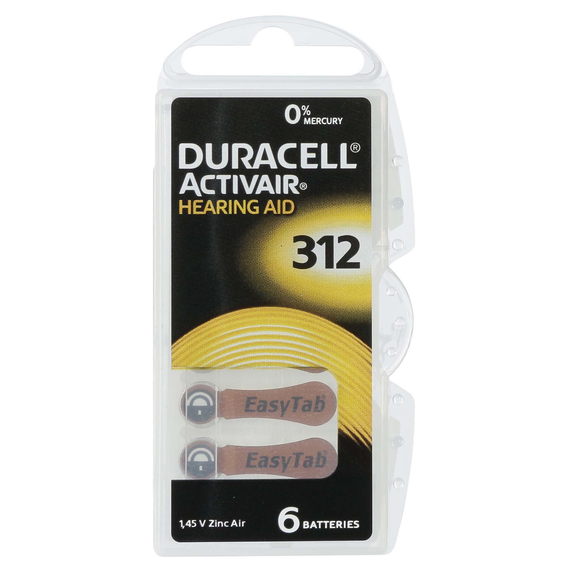 Duracell ActivAir 312 / PR41  - 10 Cartelas - 60 Baterias para Aparelho Auditivo  - SONORA