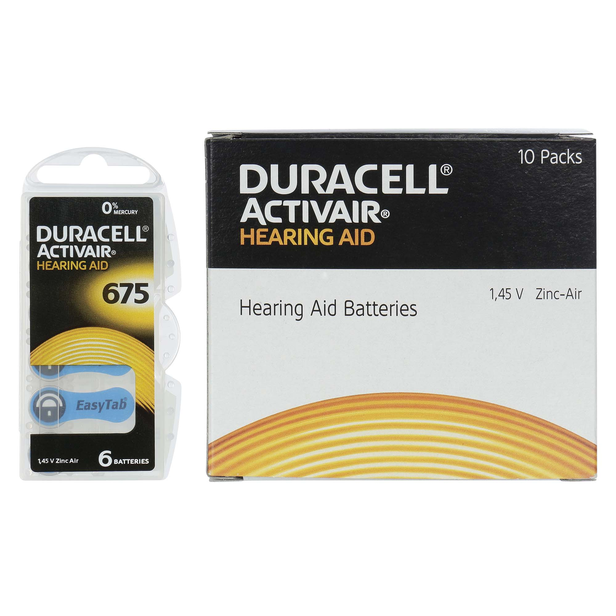 Duracell ActivAir 675 / PR44  - 10 Cartelas - 60 Baterias para Aparelho Auditivo