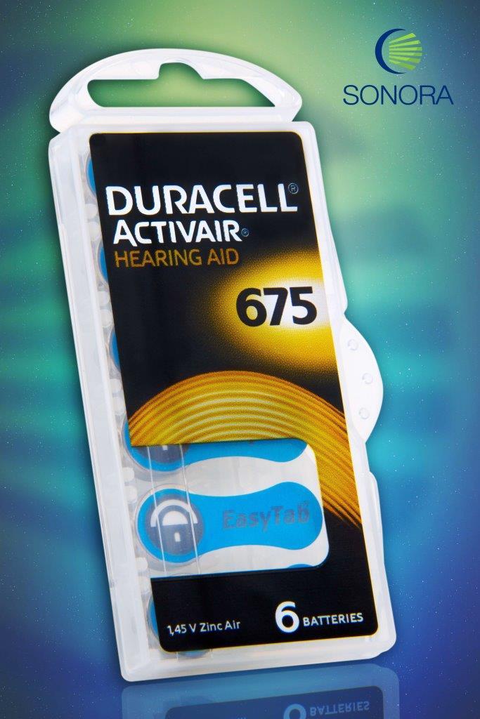 Duracell ActivAir 675 / PR44  - 10 Cartelas - 60 Baterias para Aparelho Auditivo  - SONORA