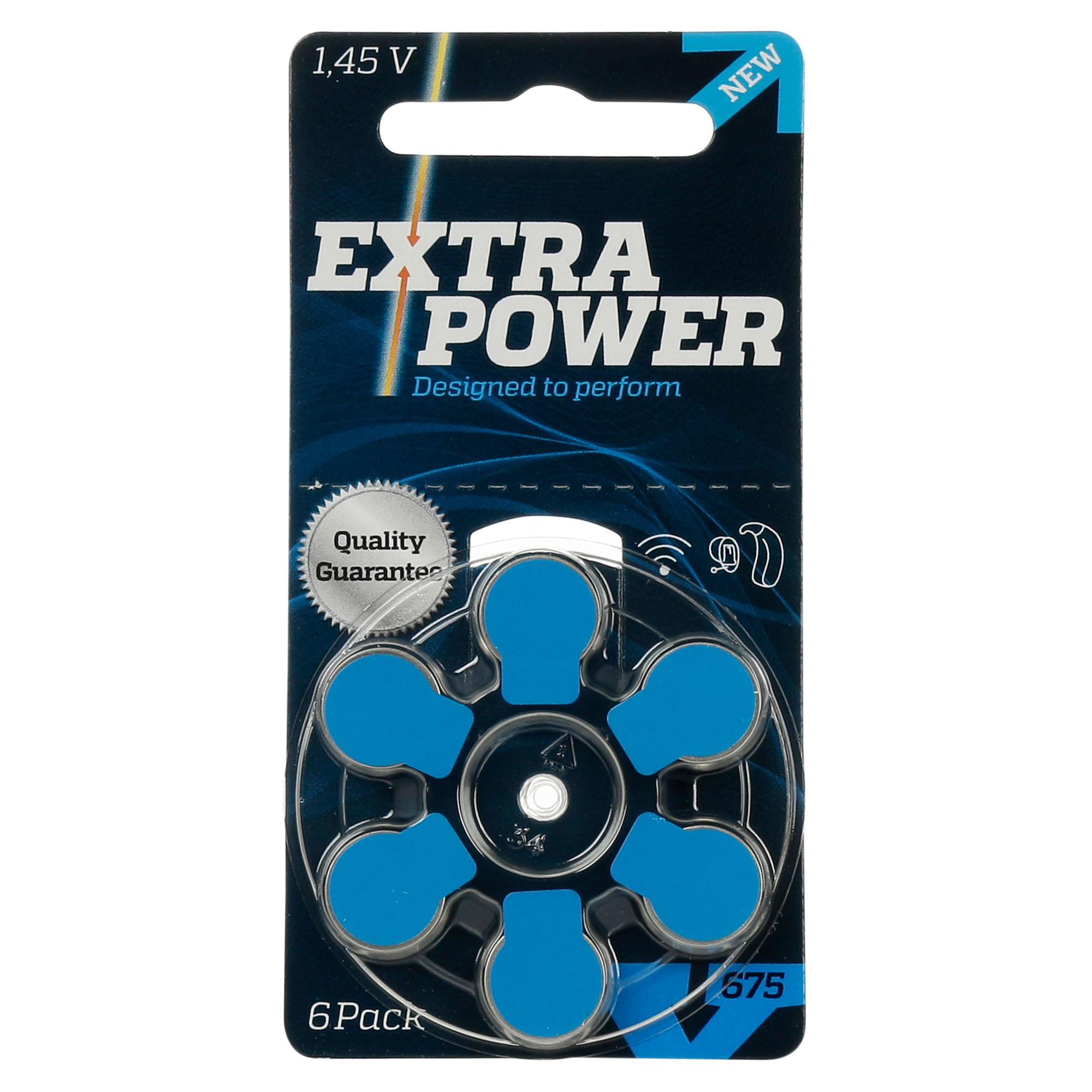ExtraPower 675 / PR44 - 1 Cartela - 6 Baterias para Aparelho Auditivo