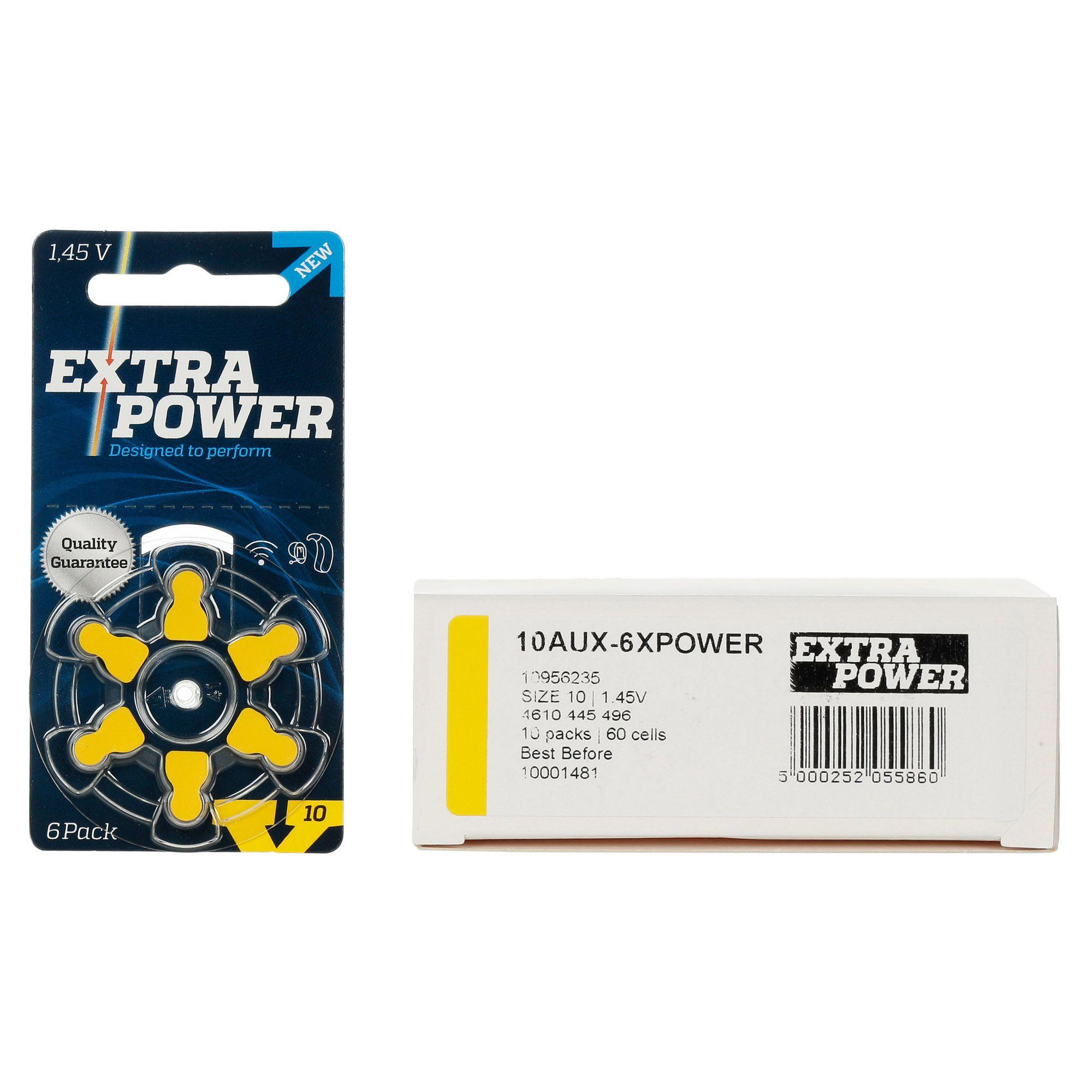 ExtraPower A10 / PR70  10 Cartelas  60 Baterias para Aparelho Auditivo