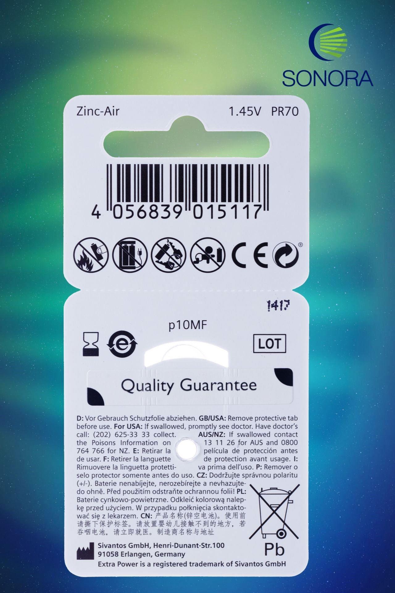 ExtraPower A10 / PR70  10 Cartelas  60 Baterias para Aparelho Auditivo  - SONORA