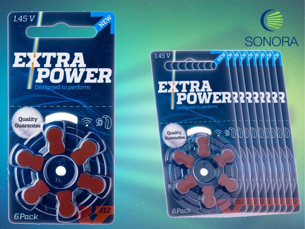 ExtraPower A312 / PR41 - 10 Cartelas - 60 Baterias para Aparelho Auditivo  - SONORA