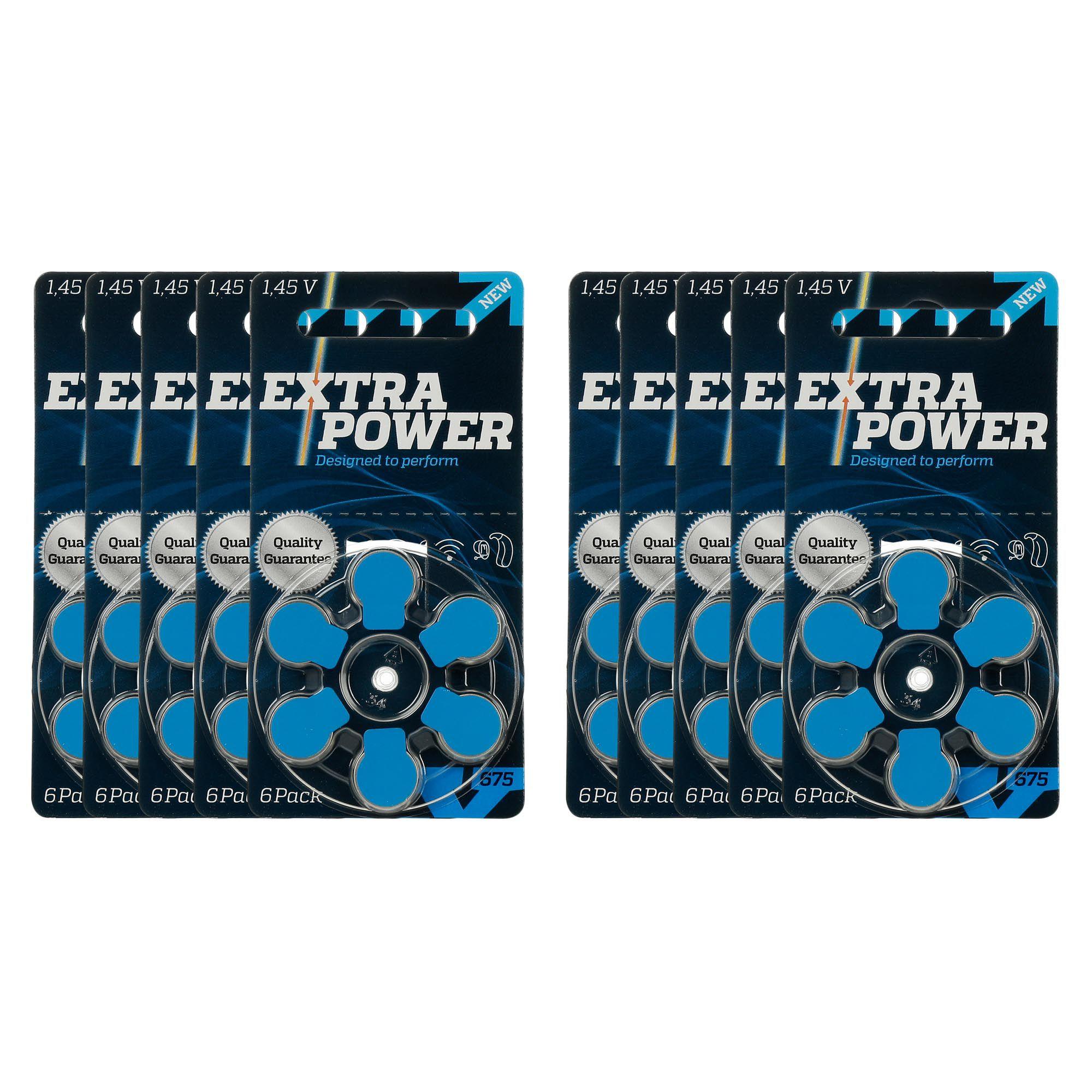 ExtraPower A675 / PR44 - 10 Cartelas - 60 Baterias para Aparelho Auditivo  - SONORA