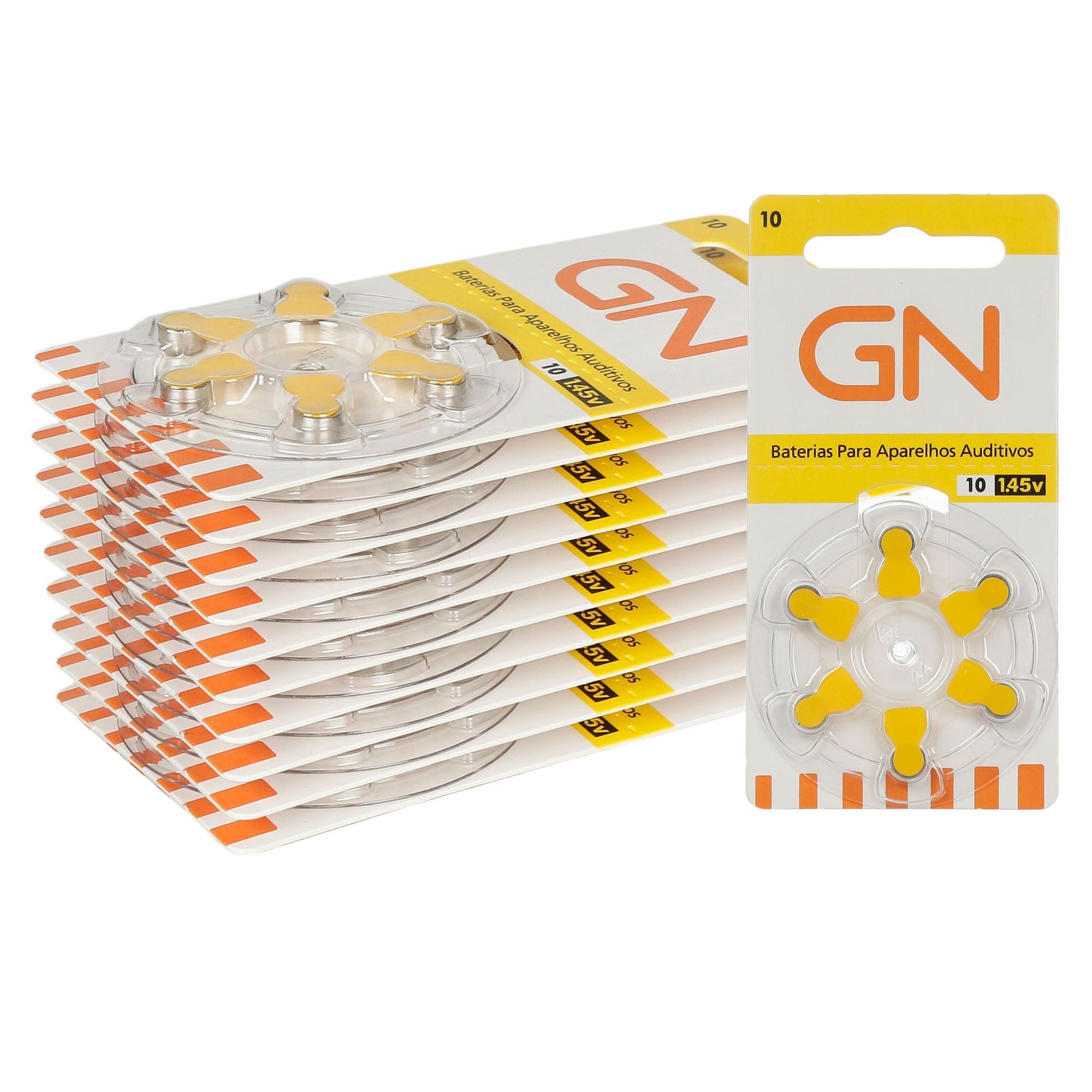 GN RESOUND 10 / PR70 - 10 Cartelas - 60 Baterias para Aparelho Auditivo  - SONORA
