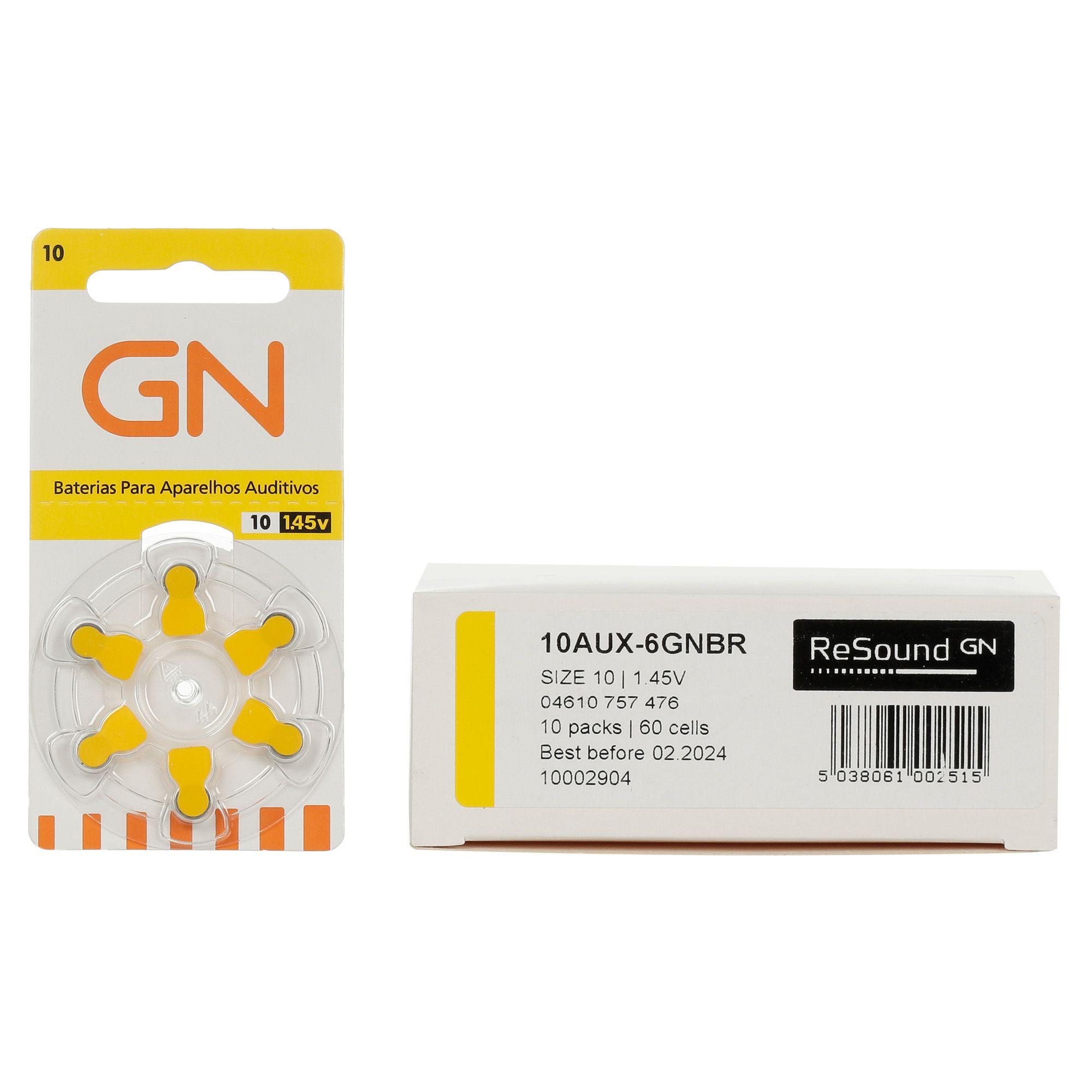 GN RESOUND 10 / PR70 - 10 Cartelas - 60 Baterias para Aparelho Auditivo