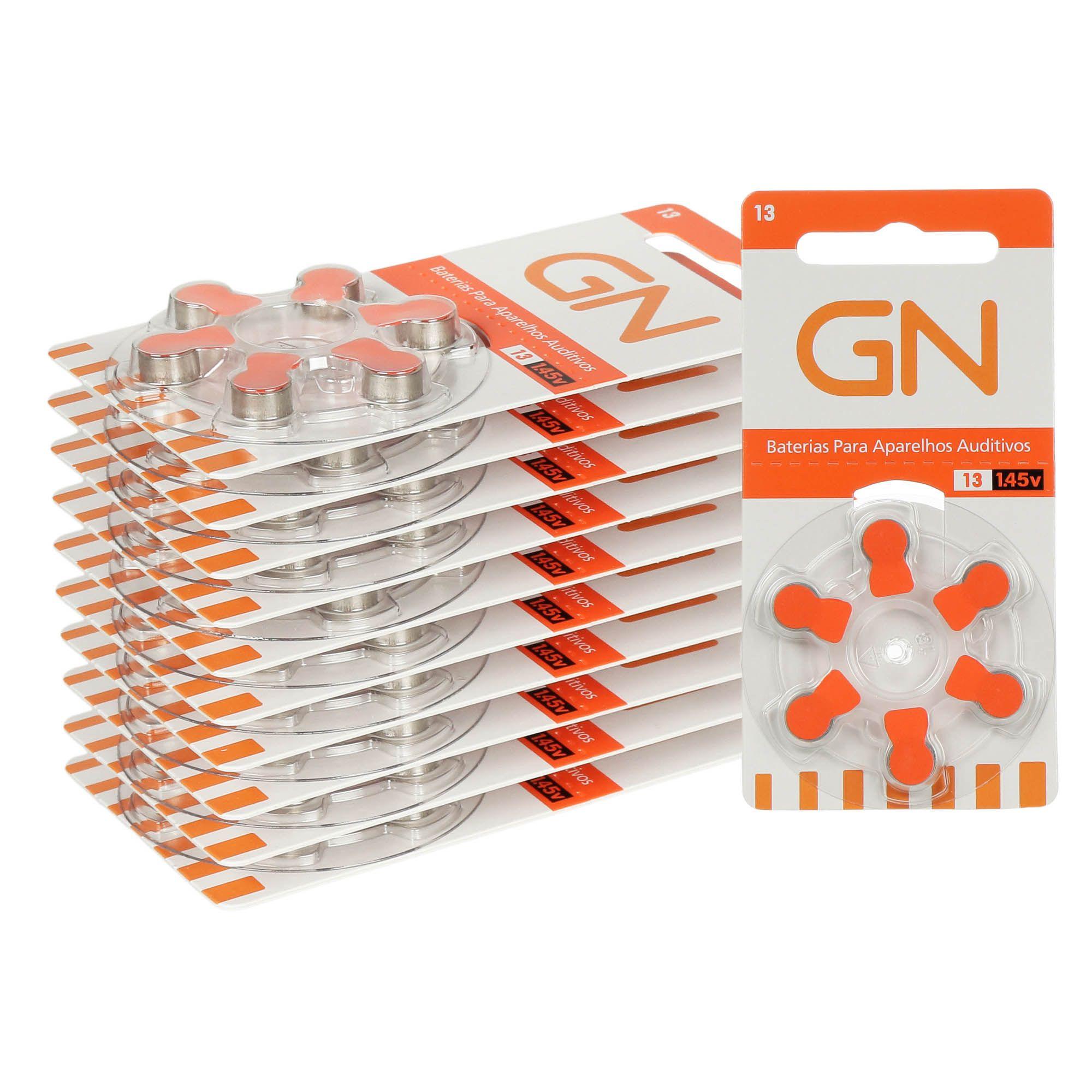 GN RESOUND 13 / PR48 - 10 Cartelas - 60 Baterias para Aparelho Auditivo  - SONORA