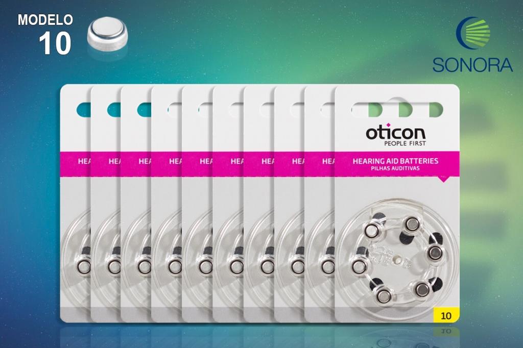 OTICON 10 / PR70 - 10 Cartelas - 60 Baterias para Aparelho Auditivo  - SONORA