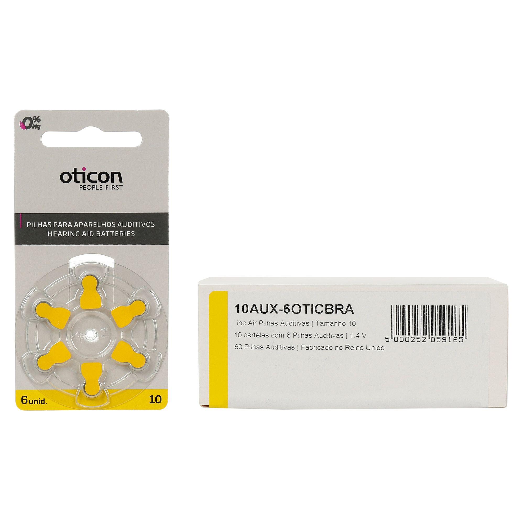 OTICON 10 / PR70 - 10 Cartelas - 60 Baterias para Aparelho Auditivo